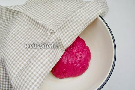 Каждый колобок поместить в ёмкость. Накрыть салфеткой. Оставить в тепле на 1-1,5 часа. Чем дольше тесто бродит, тем лучше, так как тесто на овощных соках.