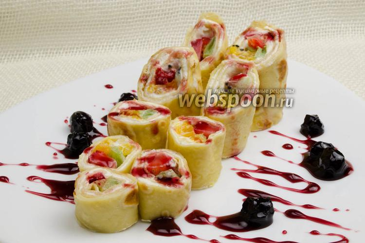 Фото Блинчики с фруктовой начинкой