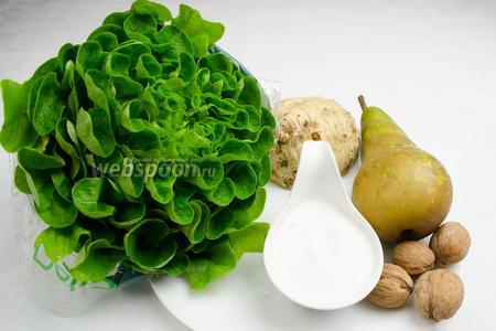 Чтобы приготовить салат, нужно взять корень сельдерея, спелую грушу, грецкие орехи, листья салата, сок лимона; для соуса — сливки, козий сыр, пару веточек мяты, чеснок.