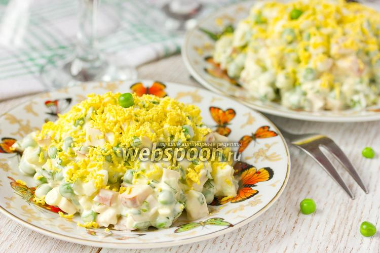 Фото Салат с копчёной курицей и зелёным горошком