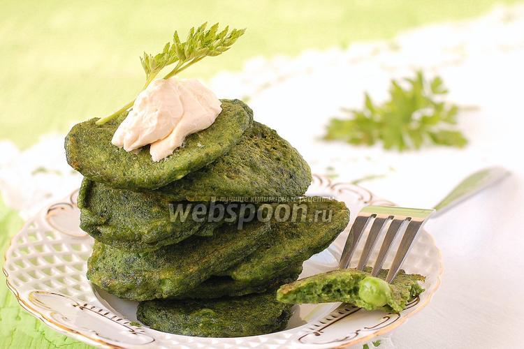 Рецепт Оладьи со шпинатом и зелёным горошком