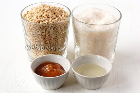 Для приготовления козинаков из перловки нам понадобится перловая крупа, сахар, мёд, подсолнечное масло без запаха, соль.