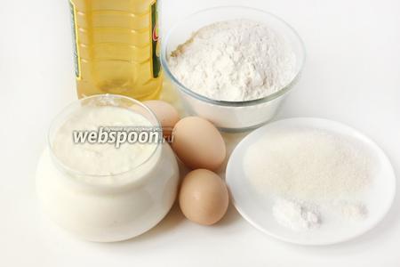Для приготовления блинов на мацони нам понадобится пшеничная мука, куриные яйца,  мацони , сахар, соль, пищевая сода, подсолнечное рафинированное масло, кусочек сала для смазывания сковороды и сливочное масло для смазывания готовых блинов.