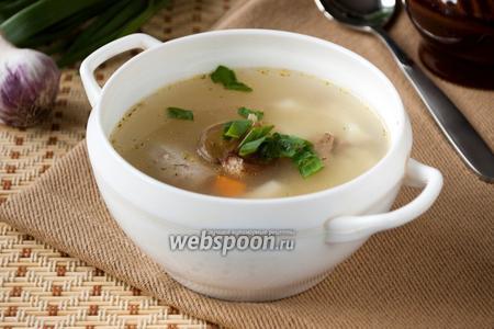 Суп из куриных потрошков с пшеном