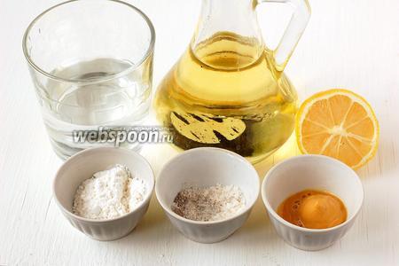 Для приготовления постного майонеза нам понадобится мука, подсолнечное масло, лимонный сок, вода, соль, перец, сахар, горчица.