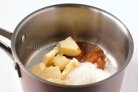 Соединить мёд, сахар и масло.