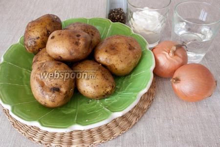 Подготовить основные продукты: картофель, лук репчатый, сметану, воду, чёрный перец.