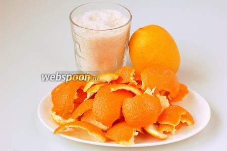 Для приготовления варенья из апельсиновых корок нам понадобится сахар, лимон, апельсиновые корки.