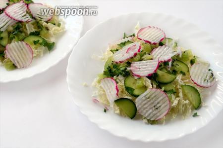 Кладём в порционные тарелки по несколько ложек капусты, огурца, редиски и киви, посыпаем мелко нарезанной петрушкой.