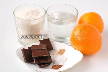 Для приготовления оранжет нам понадобится сахар, вода, апельсины, шоколад чёрный, корица, ванильный сахар, мускатный орех.
