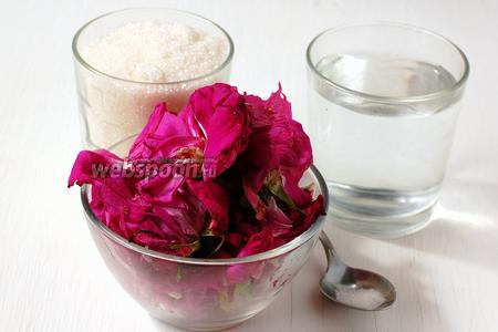 Для приготовления сорбе из роз нам понадобятся лепестки чайной розы, сахар, фильтрованная вода, лимонная кислота.