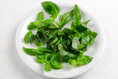 Базилик вымыть. Просушить. Крупные листья порвать частями, а мелкие оставить целыми, чтобы ими украсить салат.