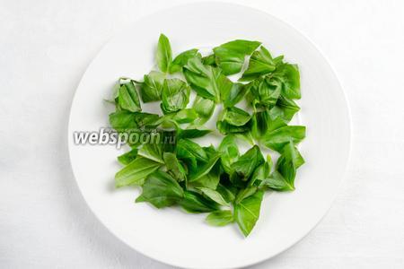 Начинаем собирать салат. На дно тарелки выложить рваные листья базилика.
