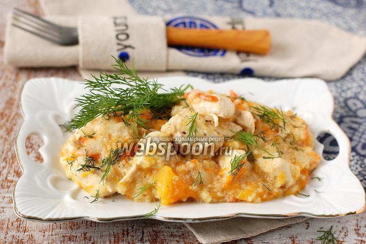 Рецепт Ячневая каша с курицей и тыквой в мультиварке