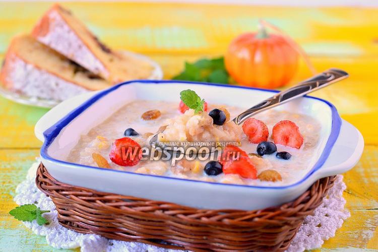 Рецепт Молочная рисовая каша с тыквой и орехами в мультиварке