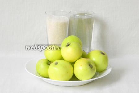 Для консервированных яблок берем на 1 банку объёмом 3 л возьмём белый налив, воду, сахар.