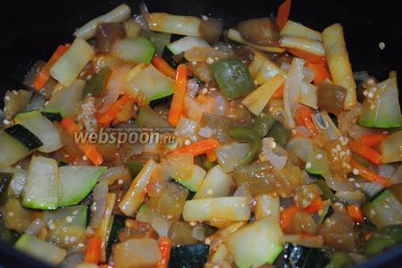 Добавляем к овощам томатную пасту или кетчуп, (влаги от кабачков должно быть достаточно для тушения), перемешиваем, солим и включаем режим «тушение» на 30 минут.