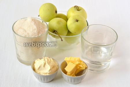 Для приготовления яблок в карамели нам понадобится сахар, вода, сливки, масло, яблоки.