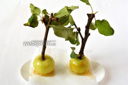 Готовые яблоки выкладывать на кулинарную бумагу для остывания.