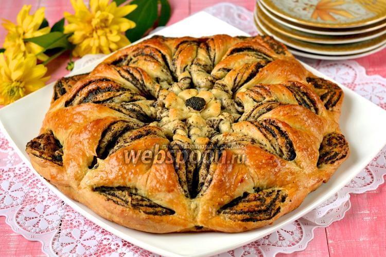 Фото Плетёный пирог с маком и яблоками