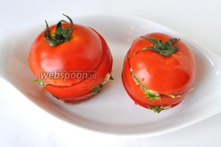 Кладём между кольцами помидор маринад и ставим на час-полтора в холодильник и сразу подавать! Приятного аппетита!