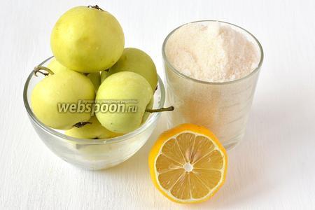 Для приготовления яблочного джема нам понадобятся яблоки, вода,  сахар, лимон.