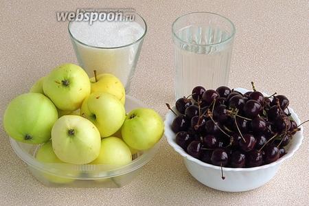 Для приготовления повидла нужно взять спелые тёмные вишни, кисло-сладкие яблоки, сахар и воду.