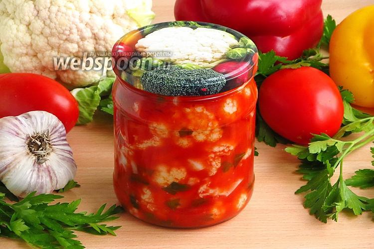 Фото Цветная капуста в томатно-перечной заливке