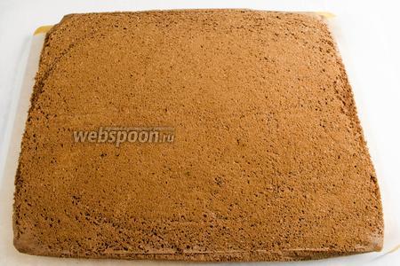 На рабочую поверхность стола расстелить новую пекарскую бумагу. Перевернуть бисквит на подготовленный лист, снять бумагу, на которой выпекался корж. Остудить корж.