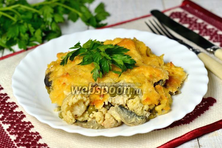 Рецепт Гратен из цветной капусты с курицей и шампиньонами