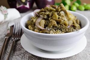 Закуска из печёных баклажанов с чесноком