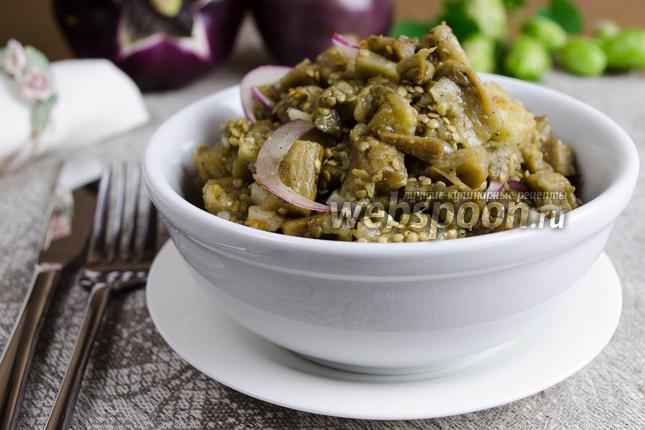 Рецепт Закуска из печёных баклажанов с чесноком
