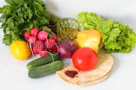 Для приготовления салата «Фаттуш» нам потребуется оливковое масло, гранатовый сироп, салат ромэн, редис, перец сладкий, петрушка, лимон, помидоры, лук фиолетовый, огурцы, ливанская пита, мята, сумах, чеснок, соль по вкусу.