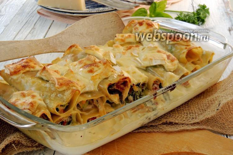 Рецепт Каннеллони с сыром и луком-пореем