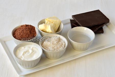 Для приготовления карамельных трюфелей нам понадобится чёрный шоколад, сахар, ванильный сахар, сливки, вода, сливочное масло, какао.