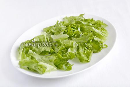 На блюдо выложить листья салата, вымытые и обсушеные. Их лучше порвать руками.