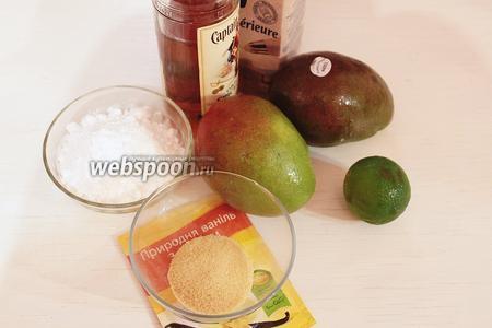 Для крема: ром, сливки 35%, желатин (замочить холодной водой), лайм, ваниль, сахарная пудра, 300 г пюре из манго (это примерно из 1,5 шт.).