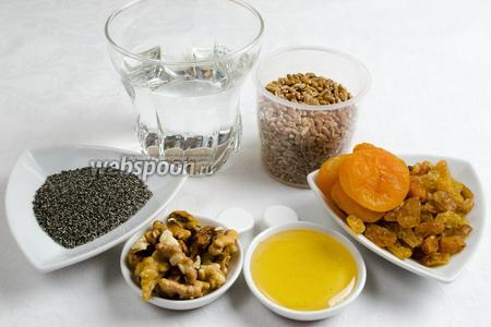 Чтобы приготовить кутью в мультиварке, необходимо взять: зёрна пшеницы 1 мультистакан, воду 2,5 мультистакана, орехи грецкие, мёд, изюм светлый, курагу (факультативно).