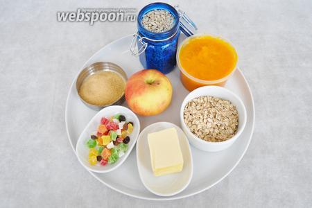 Заранее приготовить  тыквенное пюре  как описано в рецепте, так же взять корицу, яблоко, сахарную пудру, цукаты и растительное масло, овсяные хлопья типа геркулес, масло сливочное.