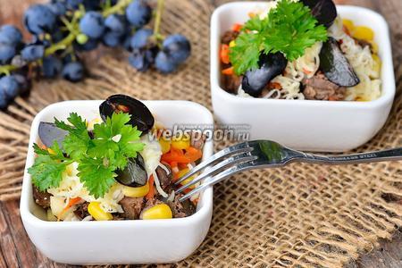 Салат из печёнки, корейской моркови и винограда