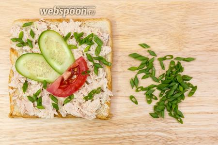 На хлеб выкладываем массу из тунца. Помидор и огурец нарежем тонко, кладём поверх массы. Можно присыпать нарезанным зелёным луком. Подаём тут же. Приятного аппетита!