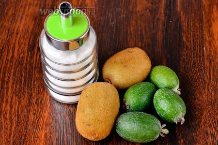 Для приготовления «живого варенья» вам понадобится сахар, фейхоа и киви.