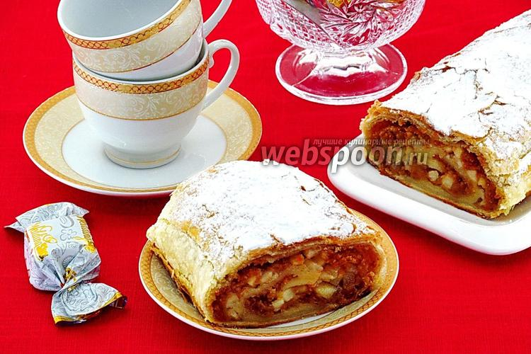 Рецепт Штрудель с грушами и овсяным печеньем