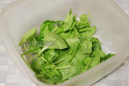 Листья шпината промыть, осушить, и уложить в миску, частично крупные порвать или измельчить керамическим ножом.