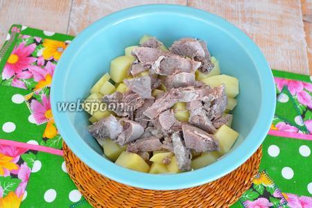 Картофель очистить и нарезать кубиками. С языка удалить шкурку и тоже нарезать кубиками. Перемешать в миске с картофелем, с добавлением масла и соли.