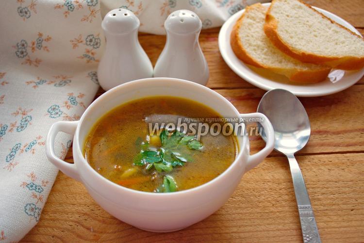 Фото Суп с пастой орзо и грибами