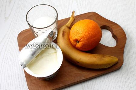Для приготовления нам понадобятся банан, сахар, сметана, желе вишневое, вода кипяченная, желатин и апельсины.