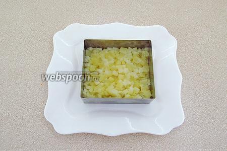 Салат выкладывать слоями. Первым слоем в формовочное приспособление уложить картофель, слегка утрамбовывая его, и чуть-чуть посолить.