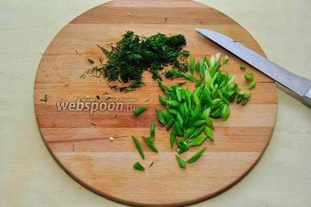 Покрошим зелень — лук и укроп