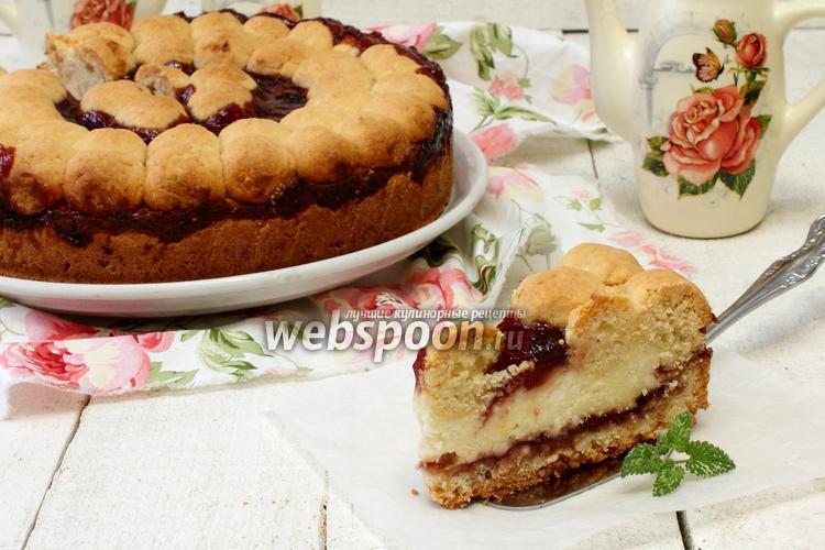 Фото Творожный пирог с пудингом и вишнёвым джемом